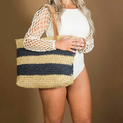 Bolsa Dream'S Beach Summer Fibra Natural Bege com Listras Azuis