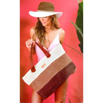 Bolsa Dream'S Beach Summer Fibra Natural Creme/Caramelo/Marrom